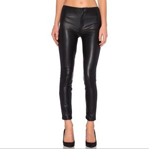 MOTHER SEAMLESS LOOKER BLACK FAUX LEATHER PANTS 26